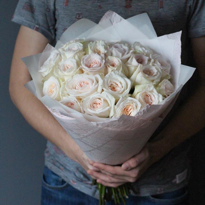 Пионовидные розы вайт охара с бесплатной доставкой по москве